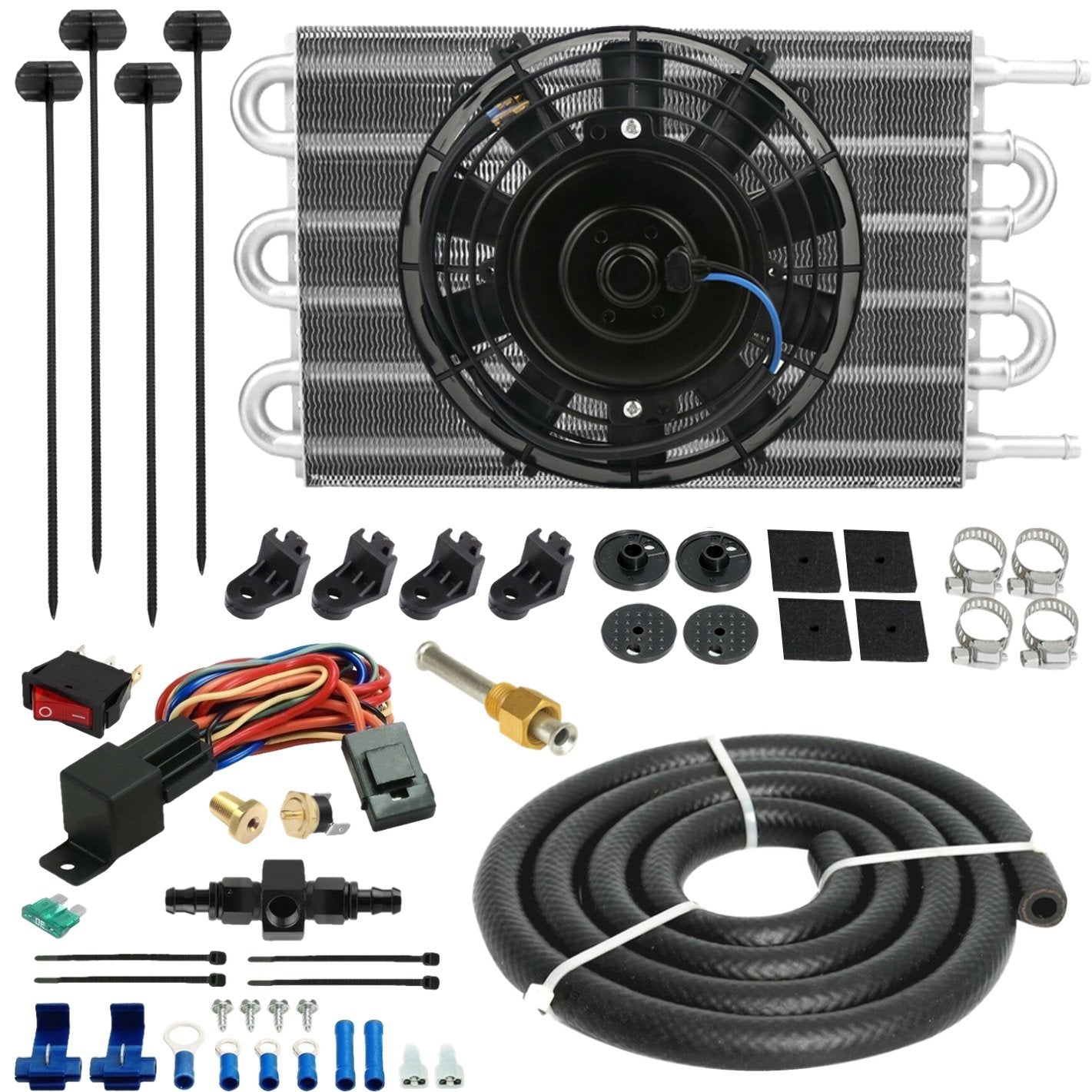 6 Row Aluminum Engine Transmission Oil Cooler Electric Fan In-Line Hose Thermostat Switch Kit-Oil Cooler-American Volt-6AN-140'F ON - 125'F OFF-American Volt