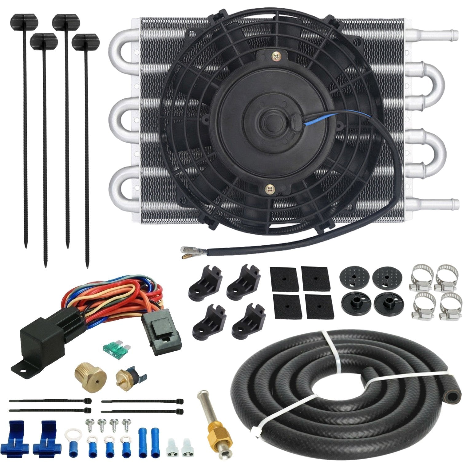 "6 Row Engine Transmission Oil Cooler 6"" Inch Electric Fan Thread-In Thermostat Switch Kit-Oil Cooler-American Volt-6AN-1/8"" NPT-140'F On - 125'F Off-American Volt"