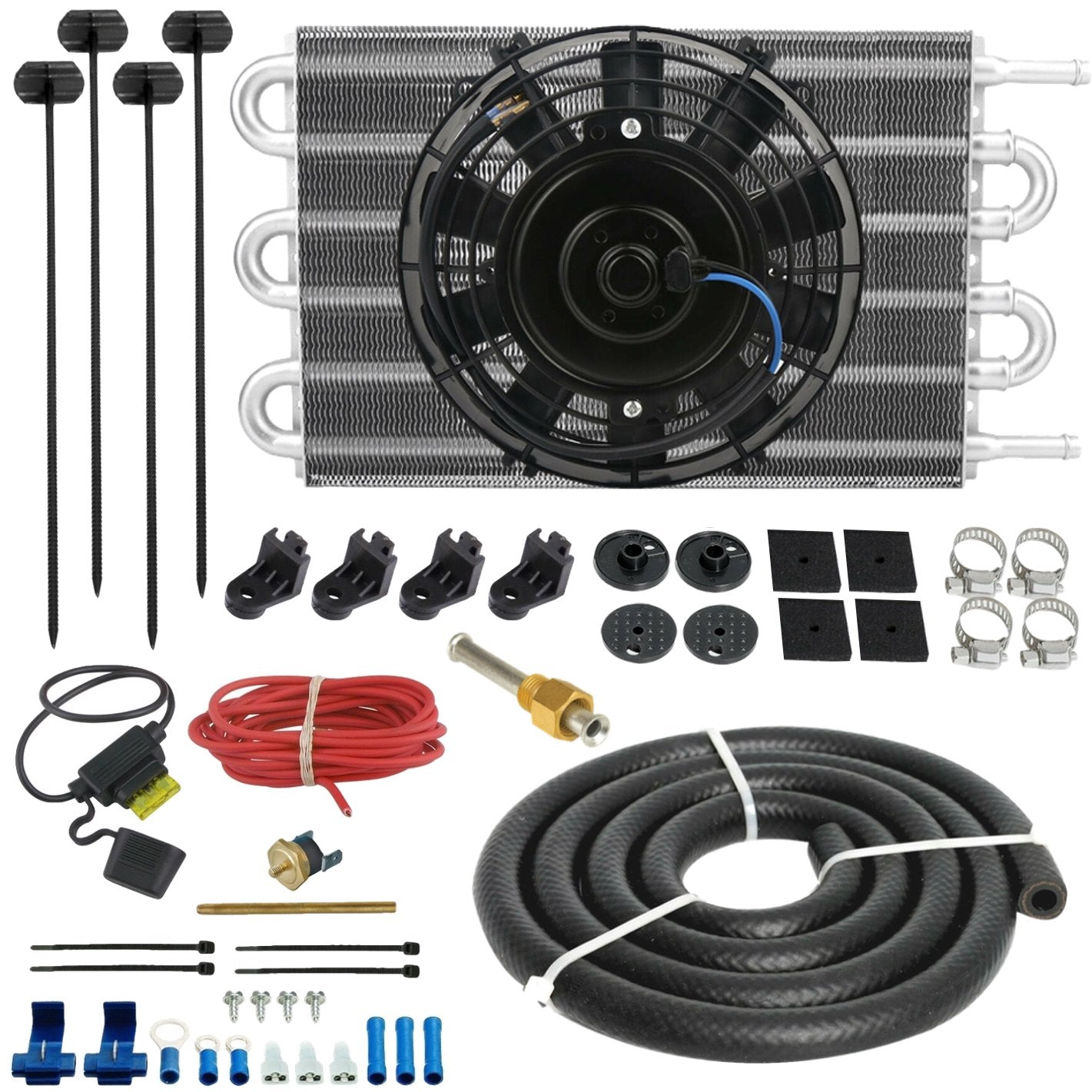 "6 Row Wide Engine Transmission Oil Cooler 6"" Inch Electric Cooling Fan Fin Thermostat Temperature Switch Kit-Oil Cooler-American Volt-6AN-3"" Inch-140'F On - 125'F Off-American Volt"