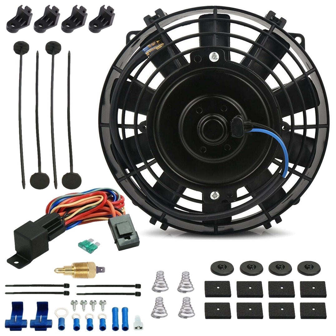 "7"" Inch 90w Motor Electric Radiator Cooling Fan NPT Ground Thermostat Temperature Switch Kit-Single Electric Fans-American Volt-1/8"" NPT-140'F On - 125'F Off-American Volt"