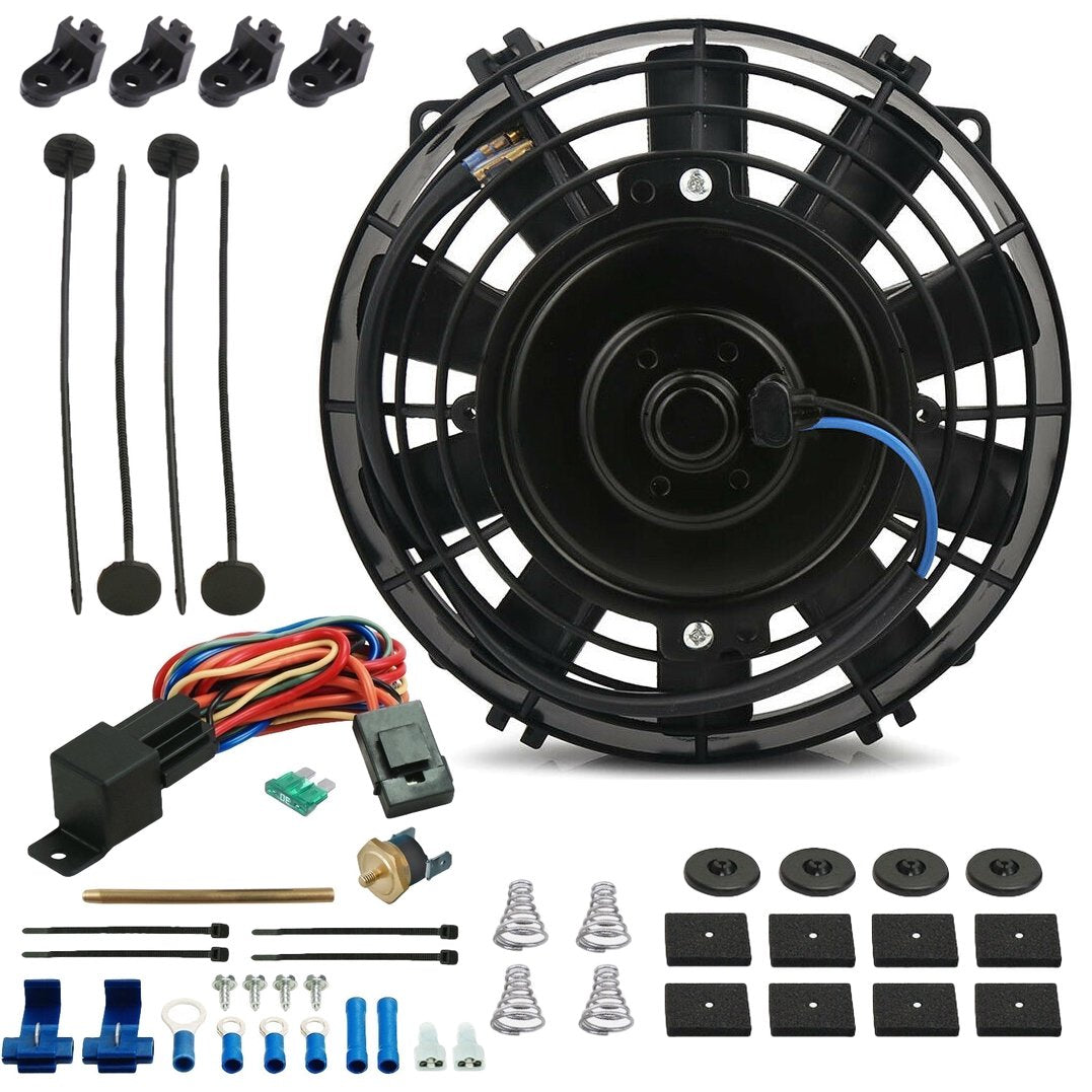 "7"" Inch Electric Trans Cooler Fan 12 Volt Push-In Fin Probe Thermostat Temp Switch Wiring Kit-Single Electric Fans-American Volt-3"" Inch-140'F On - 125'F Off-American Volt"