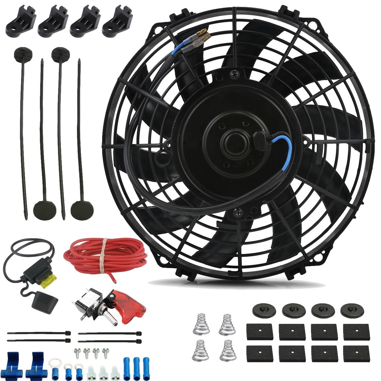 "9"" Inch 90w Electric Engine Radiator Cooling Fan 12 Volt Red LED Toggle Manual Switch Wiring Kit-Single Electric Fans-American Volt-American Volt"