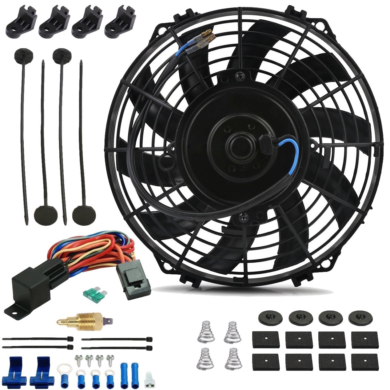 "9"" Inch 90w Motor Electric Radiator Cooling Fan NPT Ground Thermostat Temperature Switch Kit-Single Electric Fans-American Volt-1/8"" NPT-140'F On - 125'F Off-American Volt"