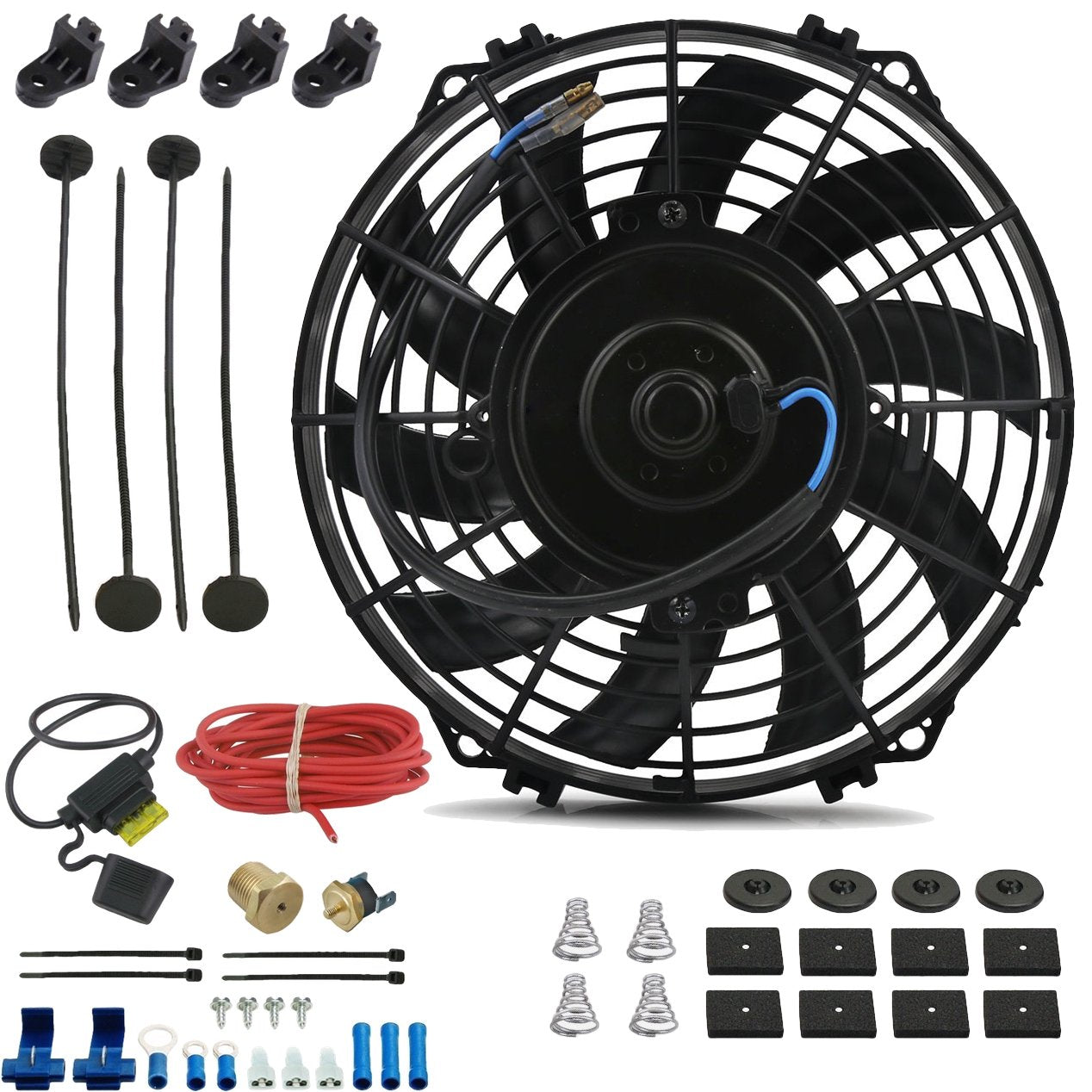 "9"" Inch Electric Auto Radiator Cooling Fan Thermostat Temperature Switch In-Line Fuse Wire Kit-Single Electric Fans-American Volt-1/8"" NPT-140'F On - 125'F Off-American Volt"