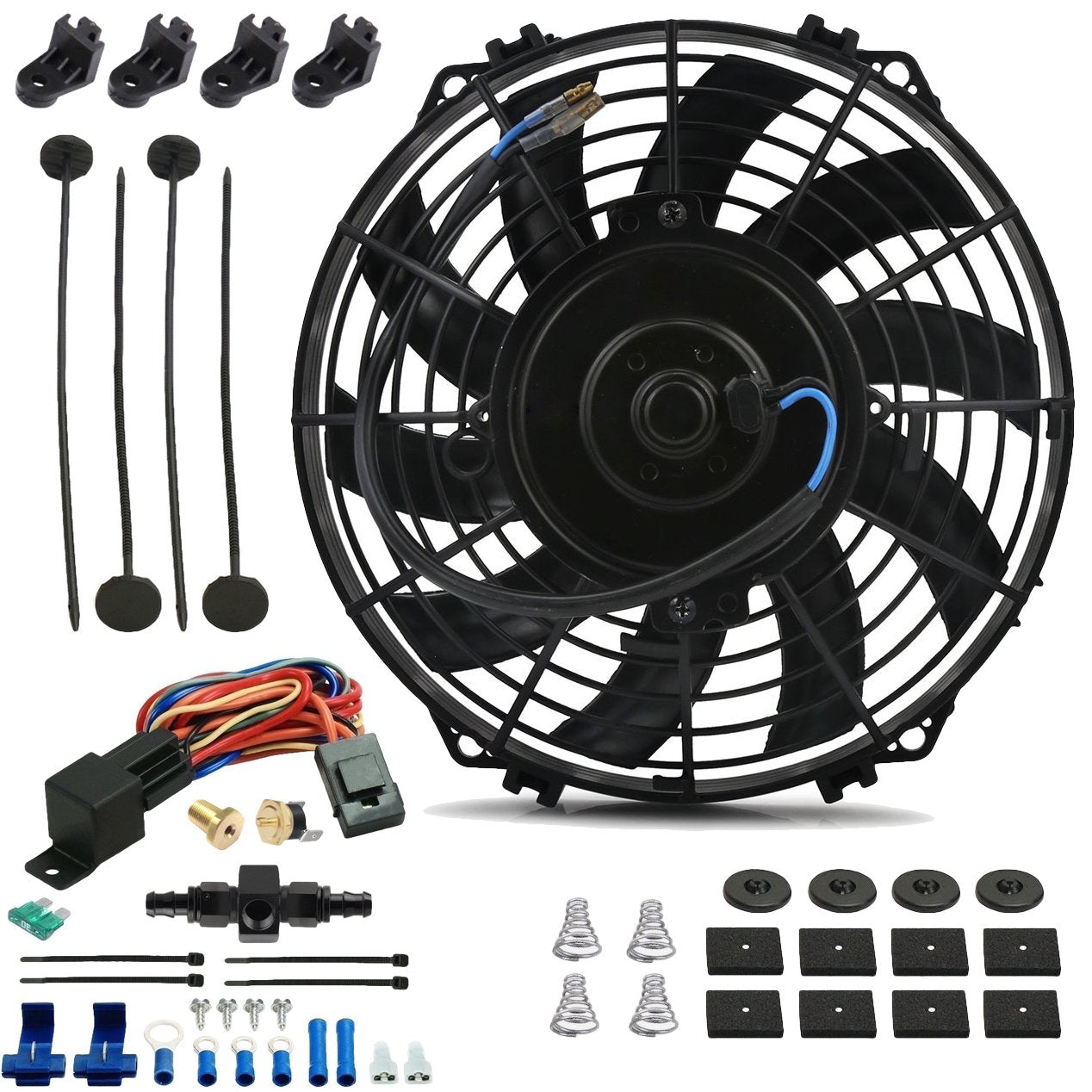 "9"" Inch Electric Engine Radiator Cooling Fan In-Line AN Hose Fitting Thermostat Temperature Switch Wire Kit-Single Electric Fans-American Volt-4AN-140'F On - 125'F Off-American Volt"