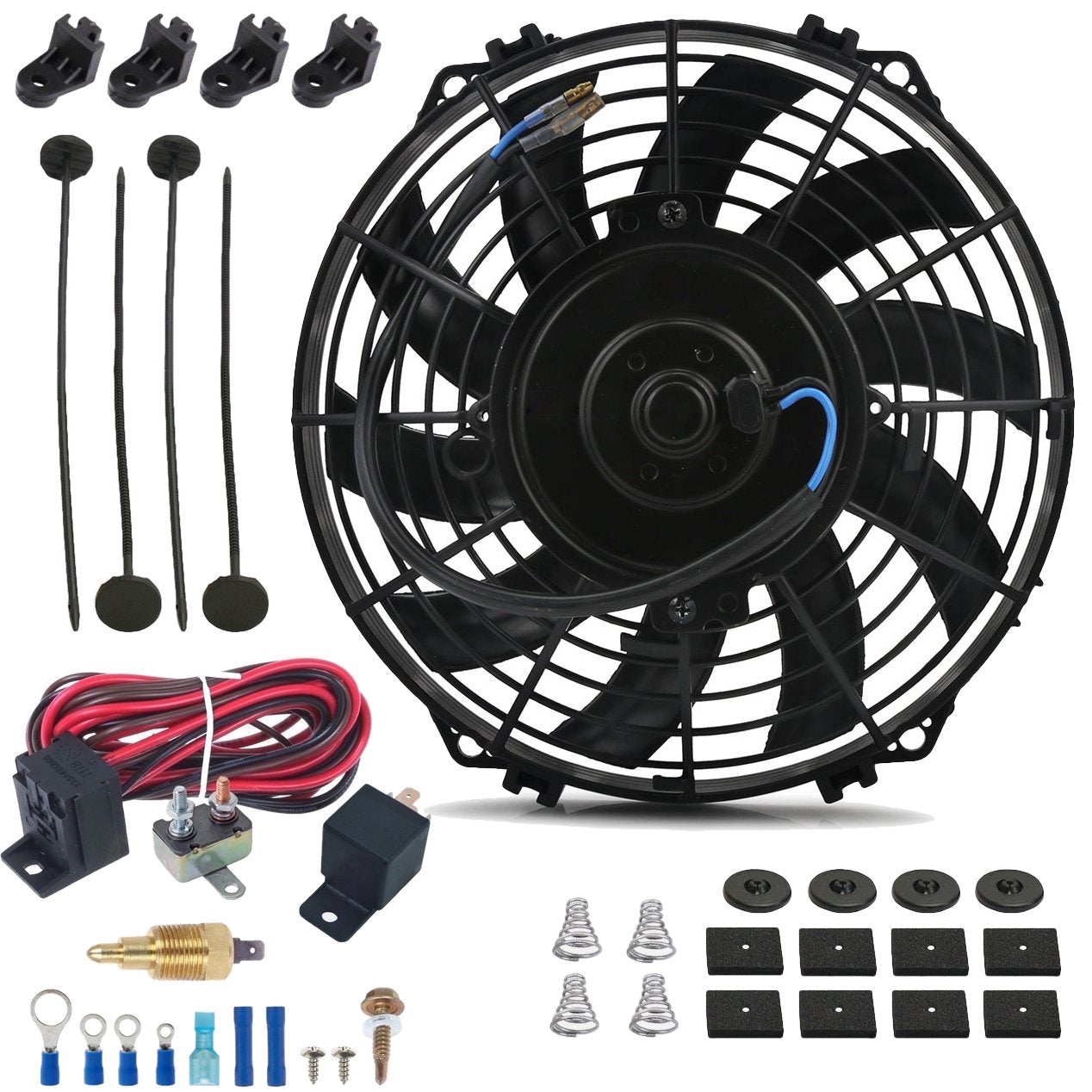 "9"" Inch Electric Fan 12 Volt Engine Cooling Thread-In Grounding Thermostat Switch Kit-Single Electric Fans-American Volt-1/8"" NPT-140'F On - 125'F Off-American Volt"