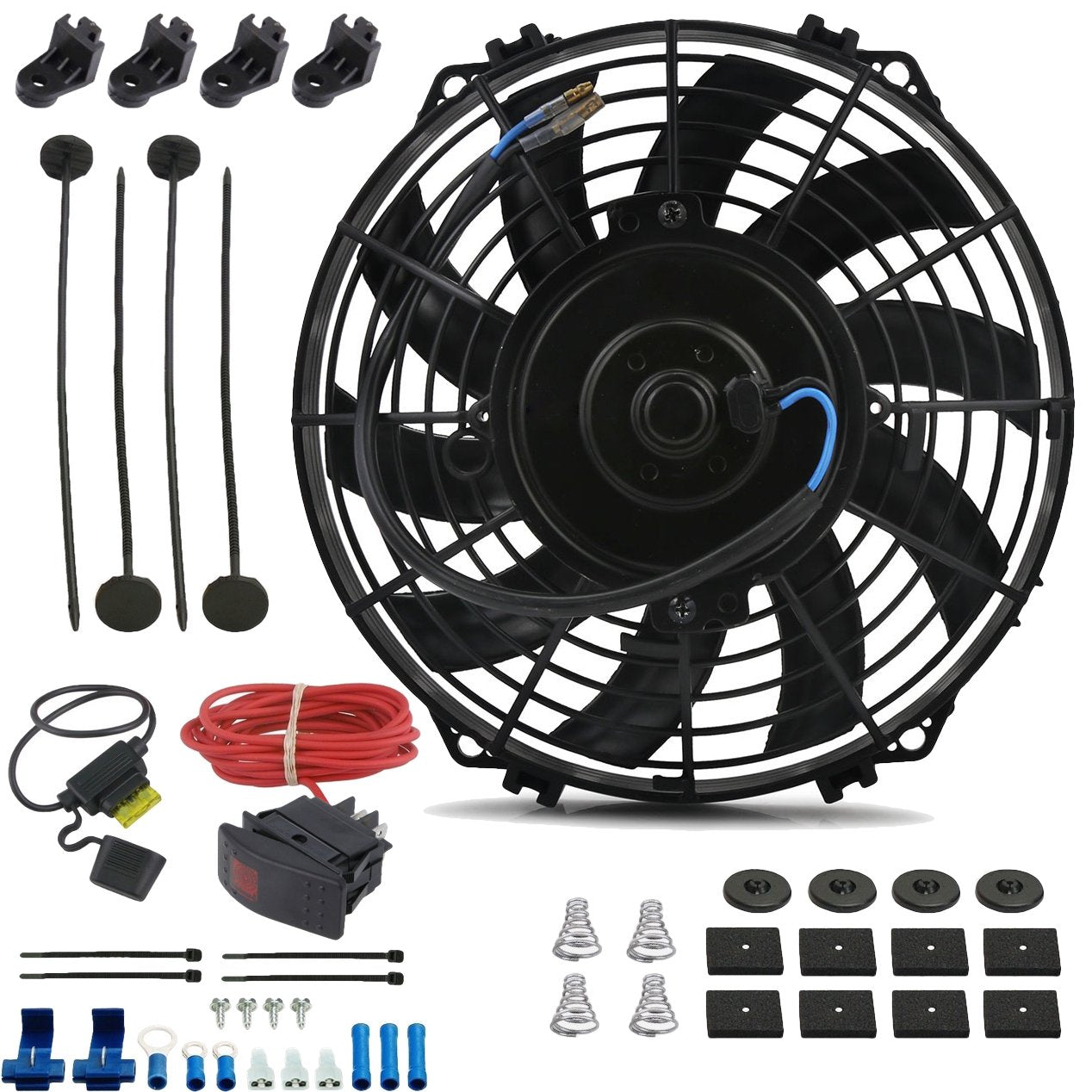 "9"" Inch Upgraded 90w Reversible Electric Cooling Fan 12 Volt Toggle Rocker Bar Switch Wiring Kit-Single Electric Fans-American Volt-American Volt"