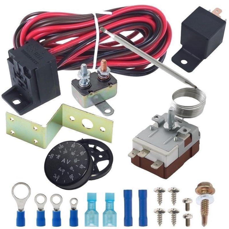 Automotive Electric Engine Fan Adjustable Dial 32'F-248'F Thermostat Relay Complete Wiring Switch Kit-Thermostat Kits-American Volt-American Volt