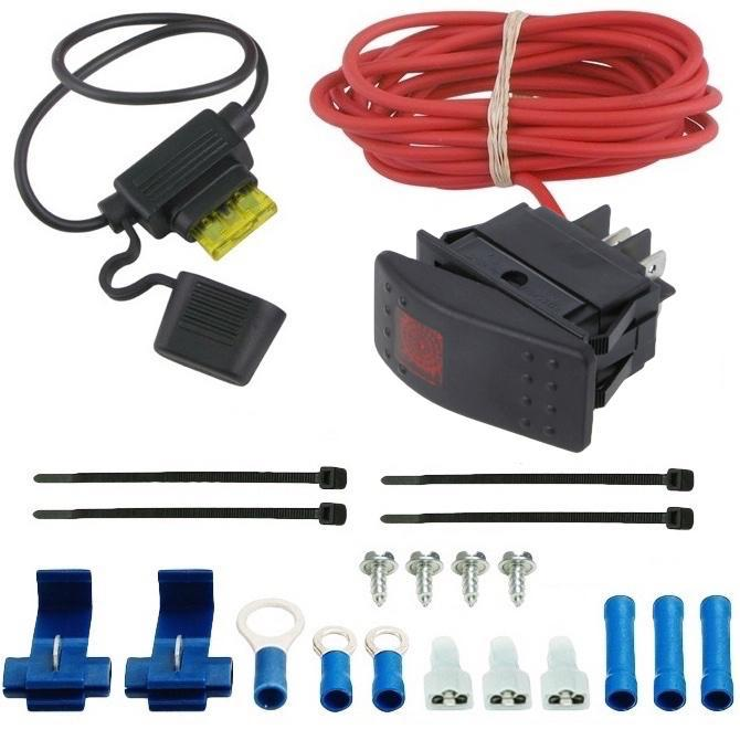 Bar Toggle Rocker Switch Red LED Light 12 Volt 20 Amp Automotive Electric Fan In-Line Fuse Wiring Kit-Toggle Switch Kits-American Volt-American Volt