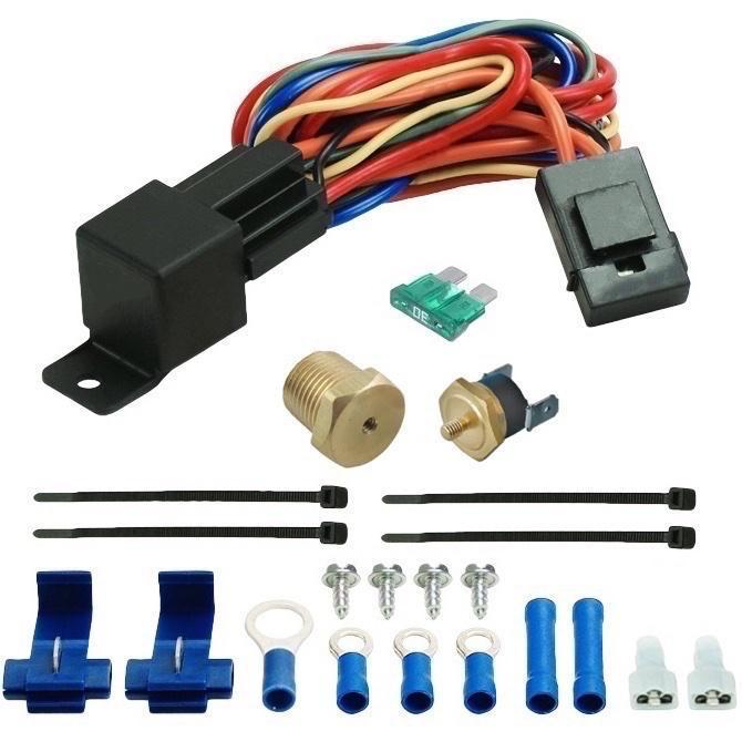 "Dual 10"" Inch Electric 12V Radiator Cooling Fans NPT Probe Thermostat Temperature Switch Kit-Dual Electric Fans-American Volt-1/8"" NPT-140'F On - 125'F Off-American Volt"