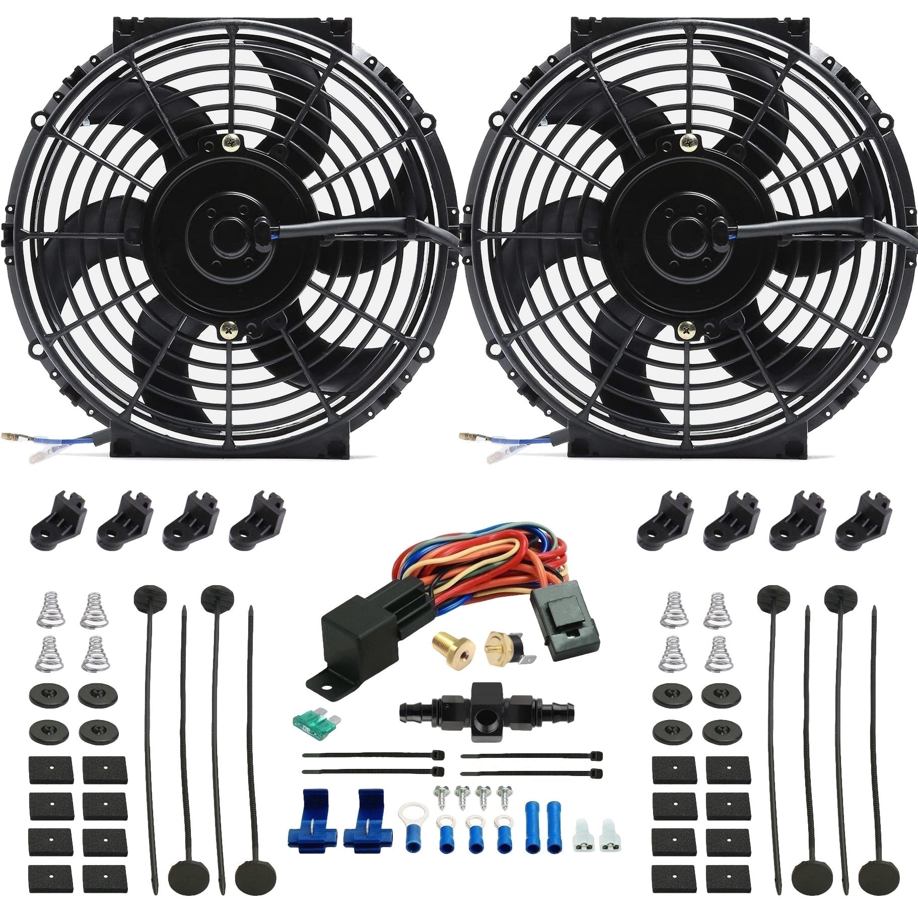 "Dual 10"" Inch Electric Engine Radiator Cooling Fans In-Hose AN Fitting Thermostat Temp Switch Kit-Dual Electric Fans-American Volt-4AN-140'F On - 125'F Off-American Volt"