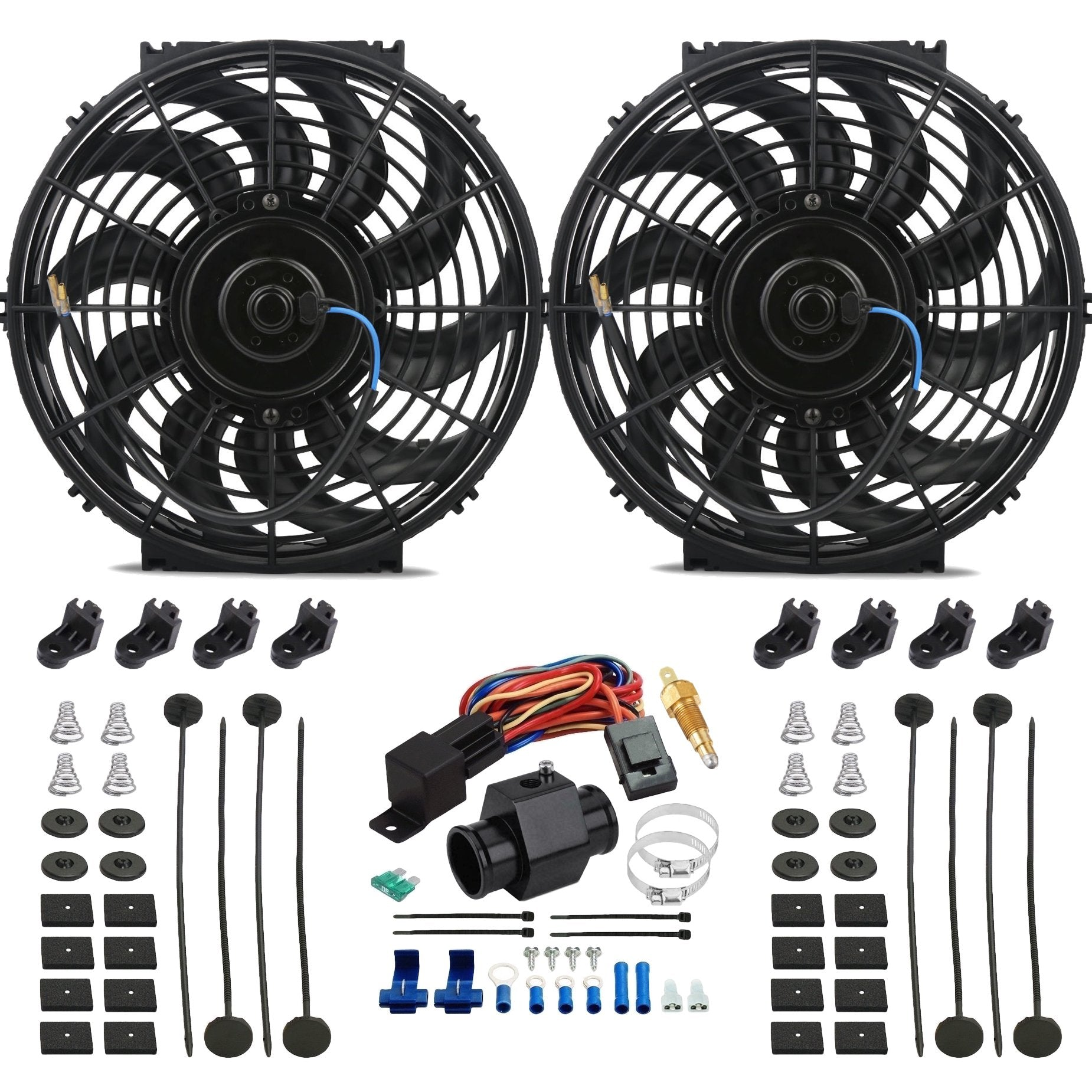 "Dual 12"" Inch Electric Cooling Fans Radiator Hose In-Line Ground Thermostat Temp Switch Wiring Kit-Dual Electric Fans-American Volt-26mm-140'F On - 125'F Off-American Volt"