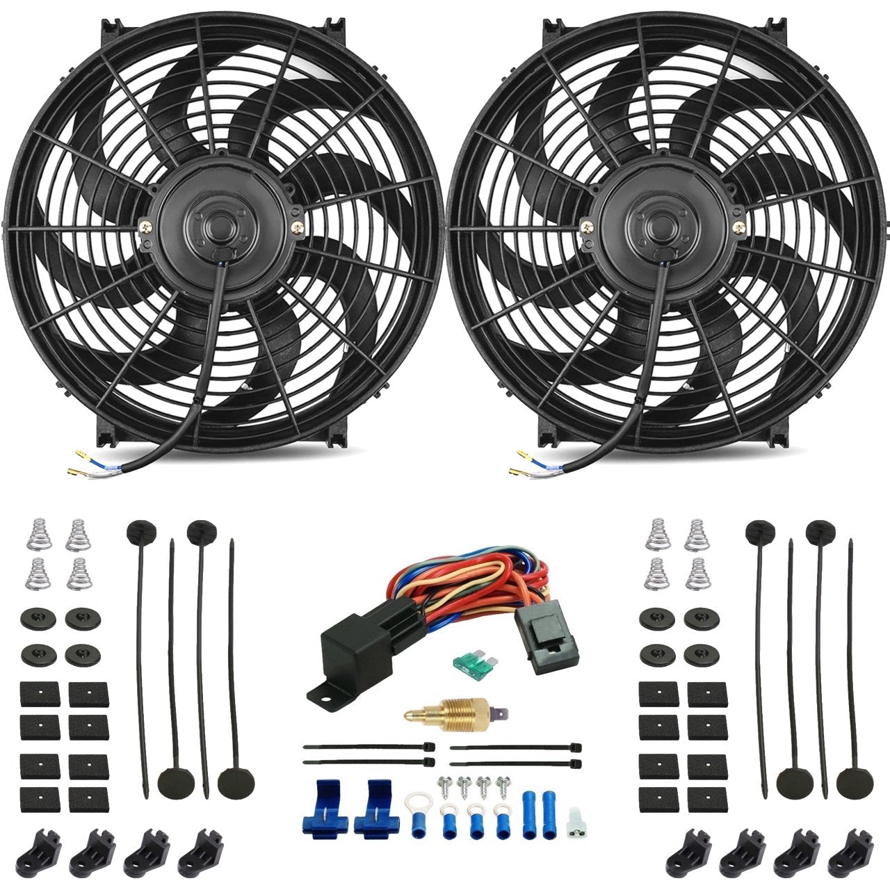 "Dual 14"" Inch 120w Motor High CFM Electric Cooling Fan Ground Thermostat Switch Wiring Kit-Dual Electric Fans-American Volt-1/8"" NPT-140'F On - 125'F Off-American Volt"