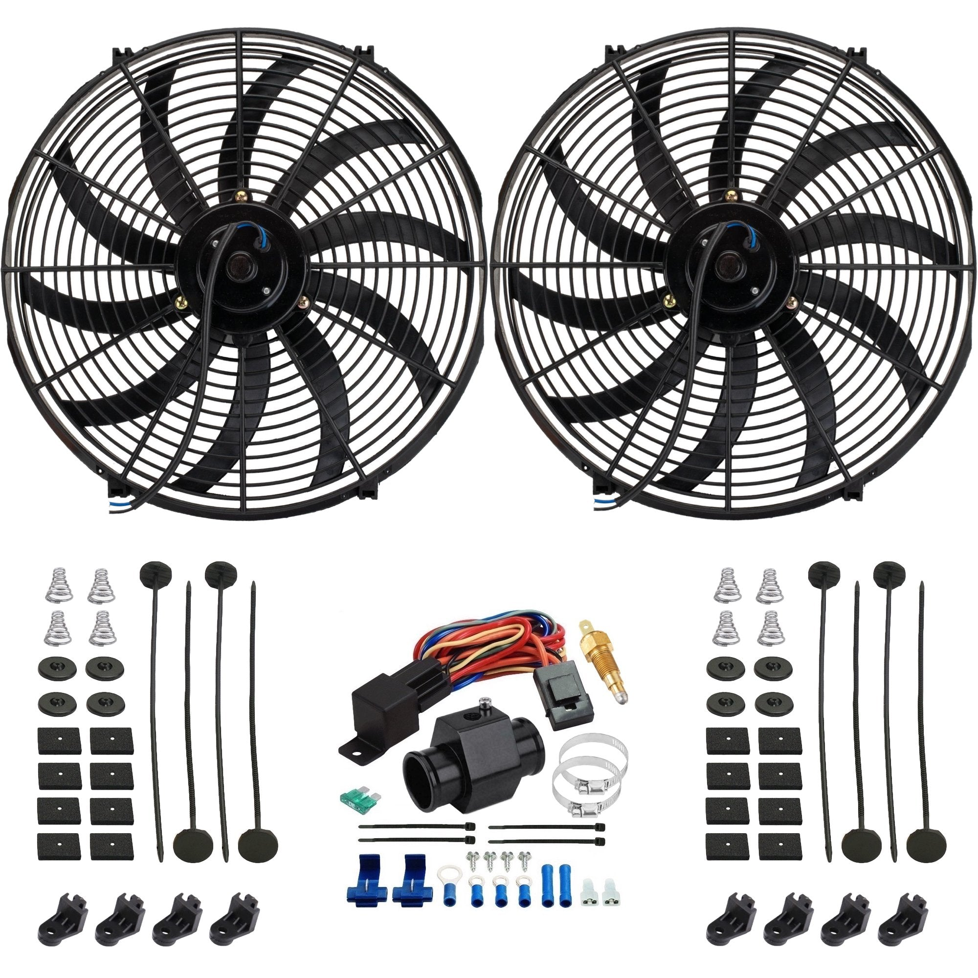 "Dual 16"" Inch Electric Cooling Fans Radiator Hose In-Line Ground Thermostat Temp Switch Wiring Kit-Dual Electric Fans-American Volt-26mm-140'F On - 125'F Off-American Volt"