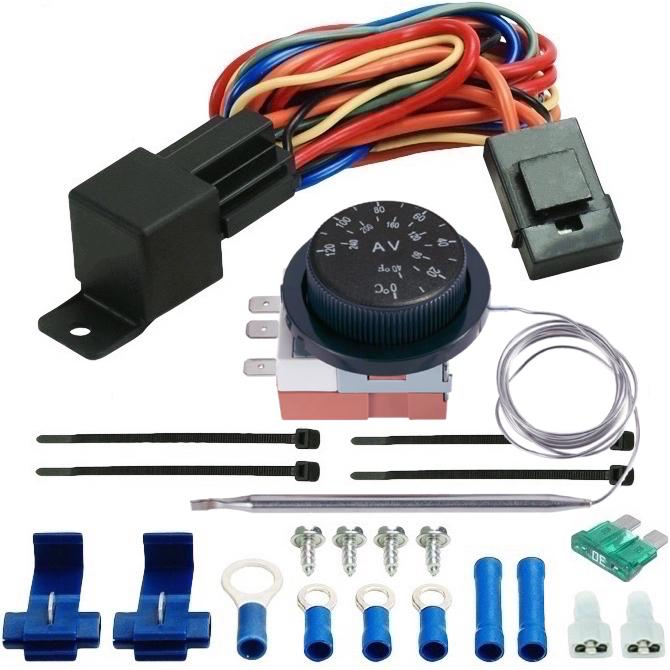 "Dual 6"" Inch Electric Trans Oil Cooler Fans Adjustable Thermostat Temperature Controller Switch Kit-Dual Electric Fans-American Volt"
