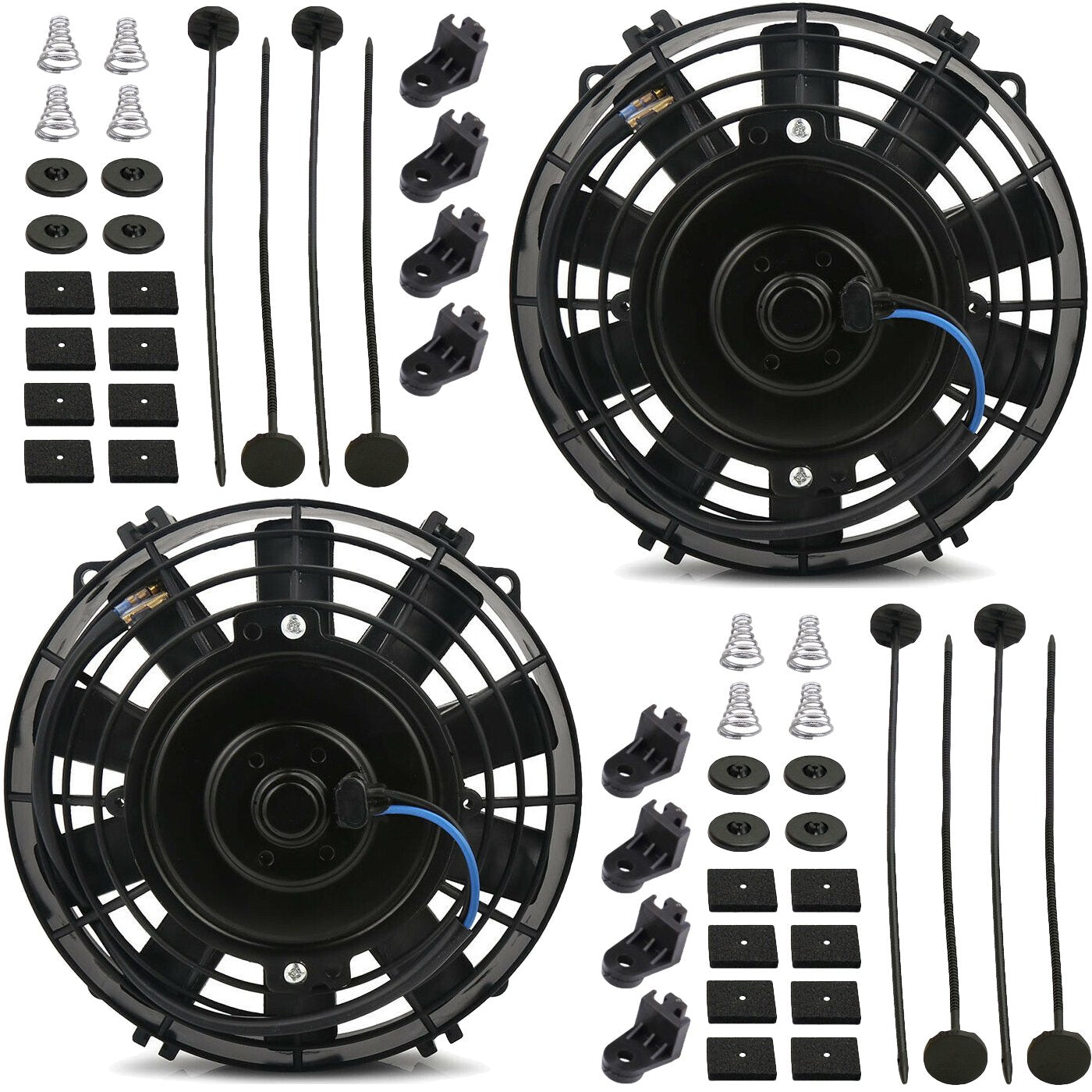 "Dual 7"" Inch Electric Auto Engine Transmission Oil Cooler Fans 12 Volt Upgraded 90W Motor-Dual Electric Fans-American Volt-American Volt"
