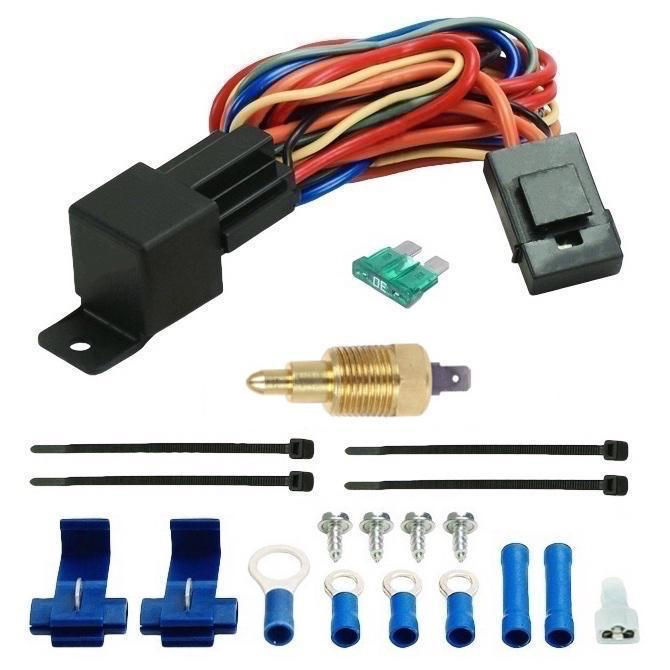 "Dual 7"" Inch Electric Automotive Air Puller Fans NPT Thread-In Grounding Thermostat Switch Kit-Dual Electric Fans-American Volt-1/8"" NPT-140'F On - 125'F Off-American Volt"