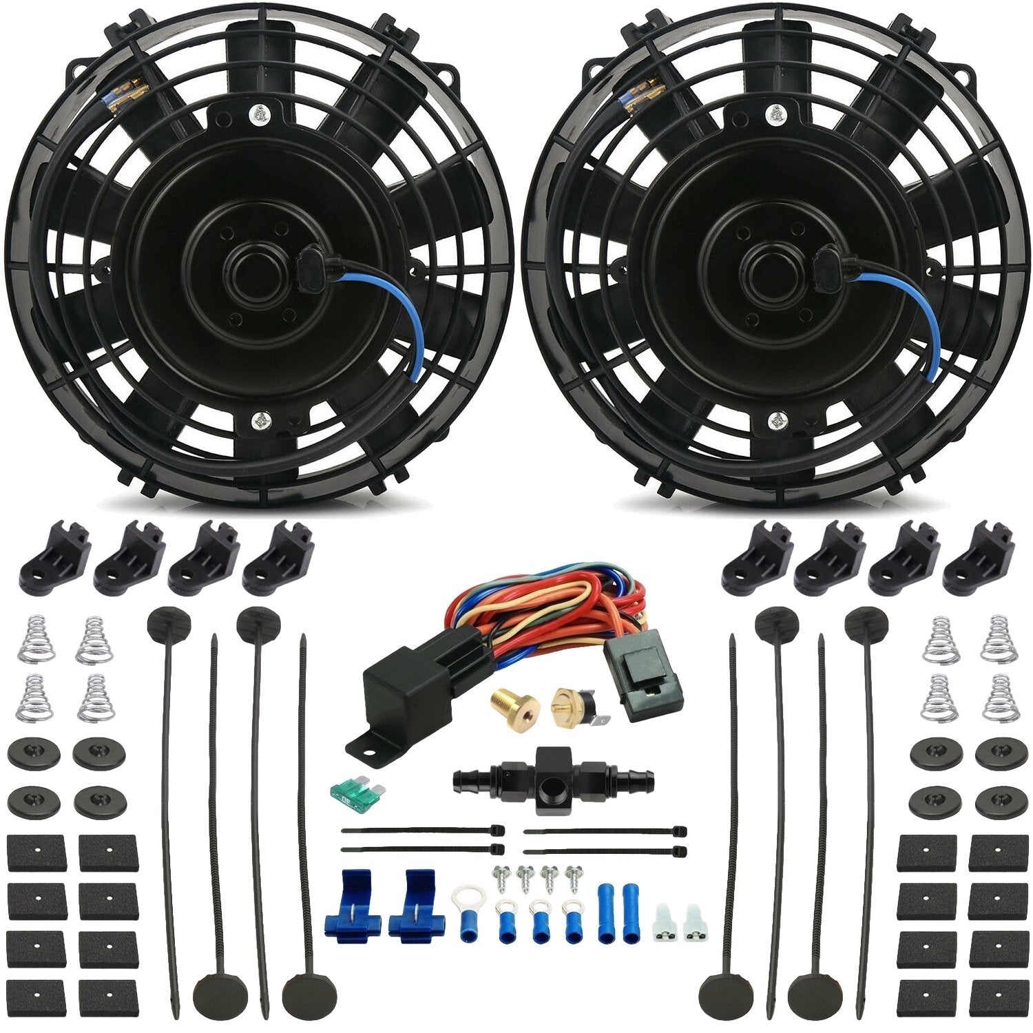 "Dual 7"" Inch Electric Engine Radiator Cooling Fans In-Hose AN Fitting Thermostat Temp Switch Kit-Dual Electric Fans-American Volt-4AN-140'F On - 125'F Off-American Volt"