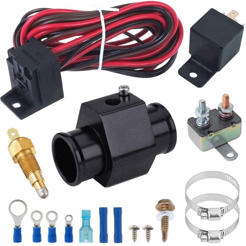 Radiator In-Line Hose Fitting Adapter Electric Fan Grounding Water Temp Thermostat Sensor Switch Wire Kit-In-Line Thermostats-American Volt-26MM-140'F ON - 125'F OFF-American Volt