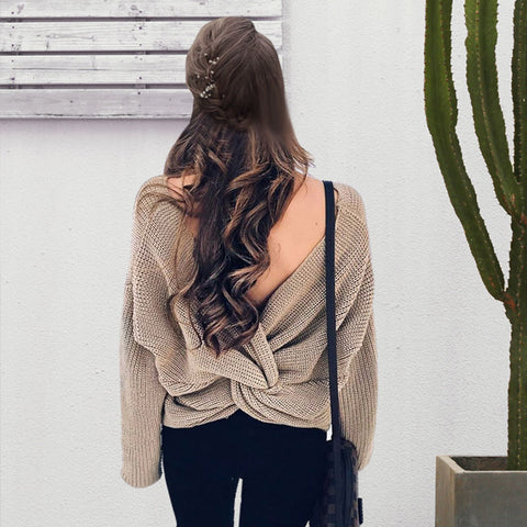 Fashion back bow soft pullover