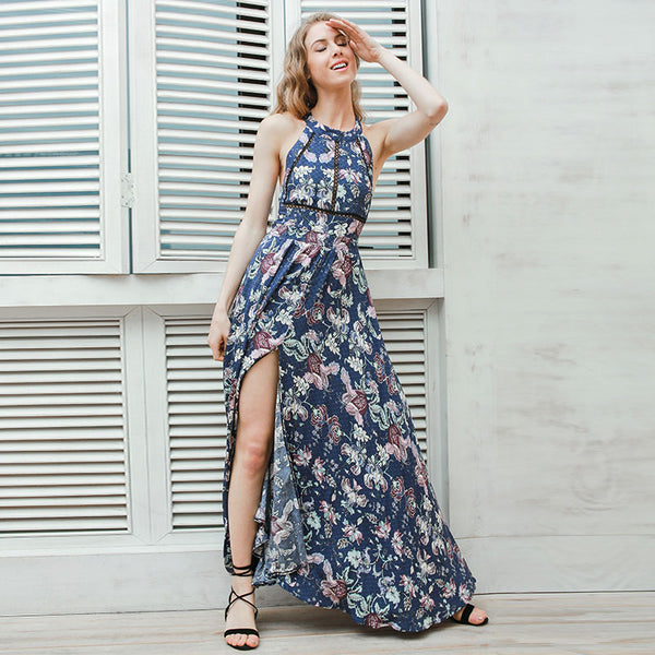 Halter summer long dress-Simplee Apparel Online Store