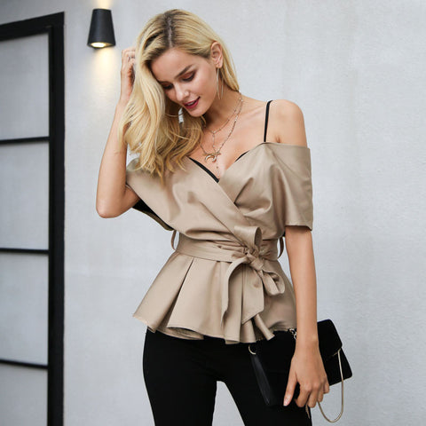 Backless v neck blouse shirt