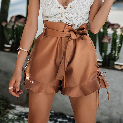 Lace up Lether shorts