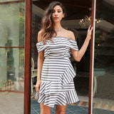 Ruffle striped dress-Simplee Apparel Online Store