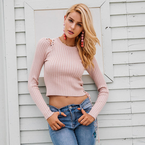 Sexy cold shoulder lace up knitting pullover
