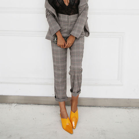 Vintage grid pants women