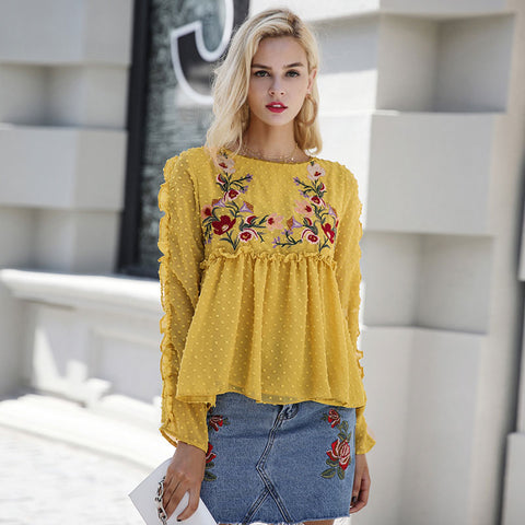 Embroidery floral print long sleeve elegant blouse