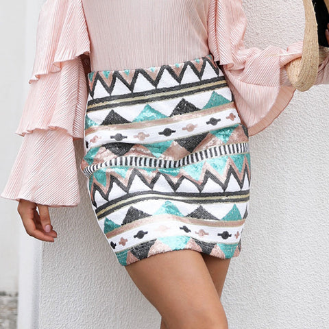 Print sequin pencil skirt