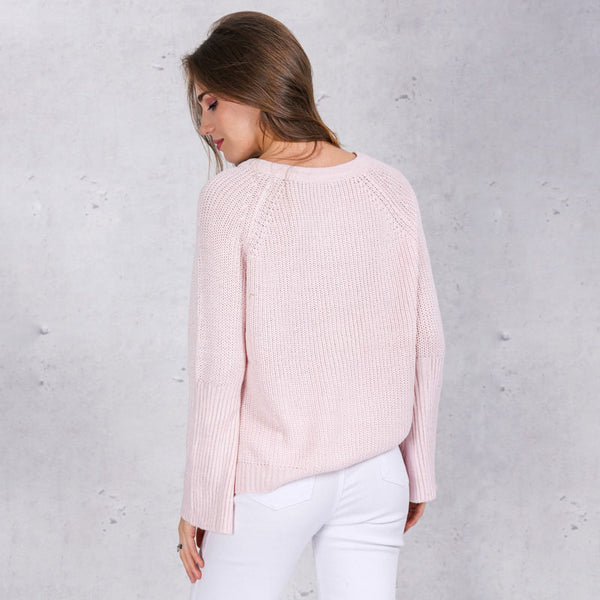 Flare sleeve knitted sweater-Simplee Apparel Online Store
