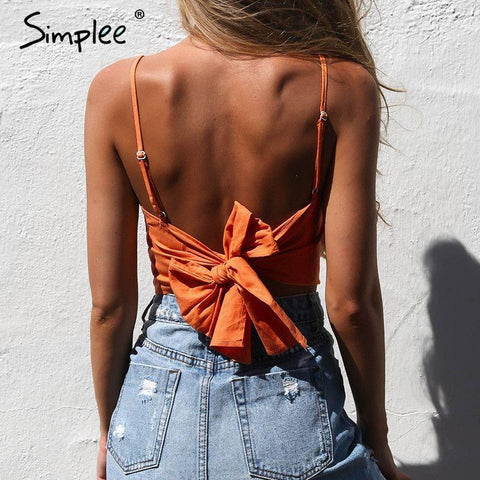 2017-Belt lace up camisole tank top-Simplee
