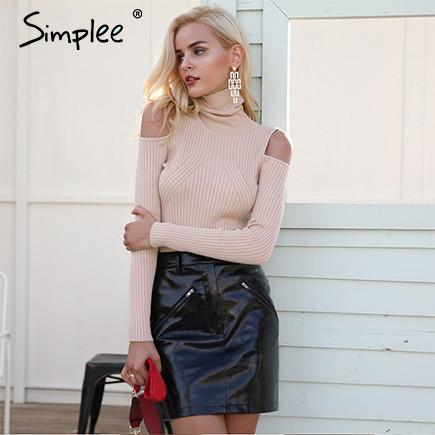 2017-Cold shoulder turtleneck sweater-Simplee