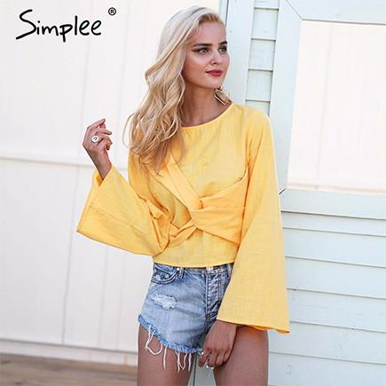 2017-Cross flare sleeve blouse-Simplee