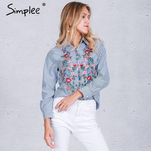 2017-Embroidery long sleeve blouse-Simplee