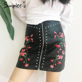 2017-Embroidery PU leather skirt-Simplee