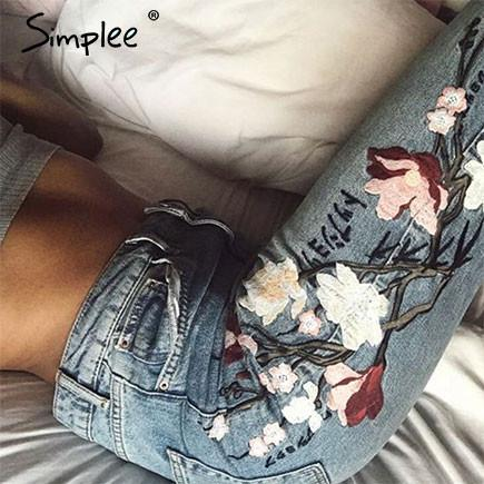 2017-Flower embroidery jeans-Simplee