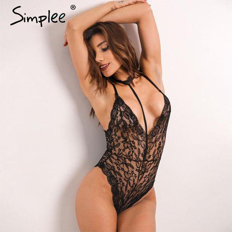 2017-Halter lace bodysuit-Simplee