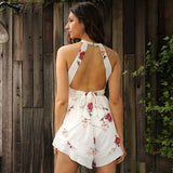 2017-Hollow out chiffon romper-Simplee