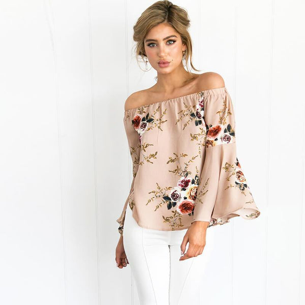 2017-Off shoulder chiffon blouse shirt-Simplee