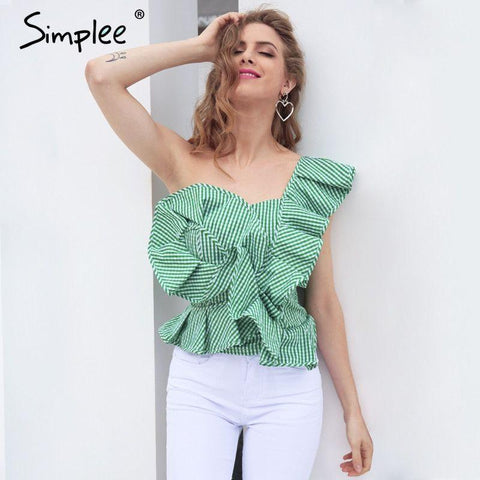 2017-One shoulder asymmetrical blouse-Simplee