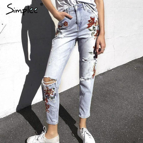 2017-Ripped flower embroidery jeans-Simplee
