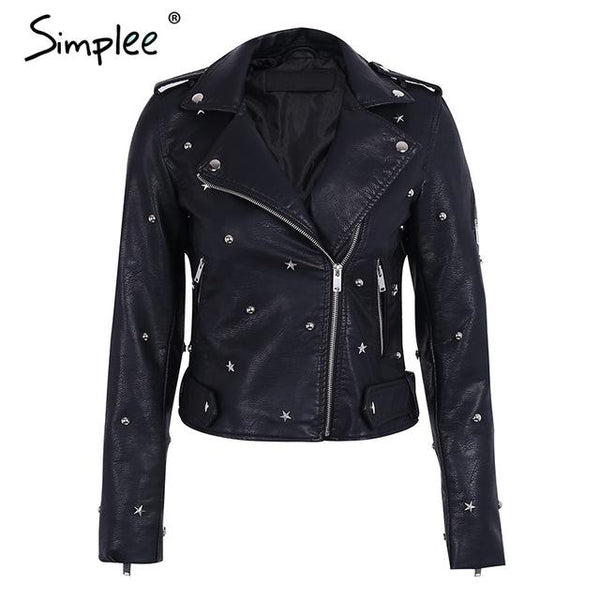 2017-Rivet PU leather jacket coat female outerwear-Simplee