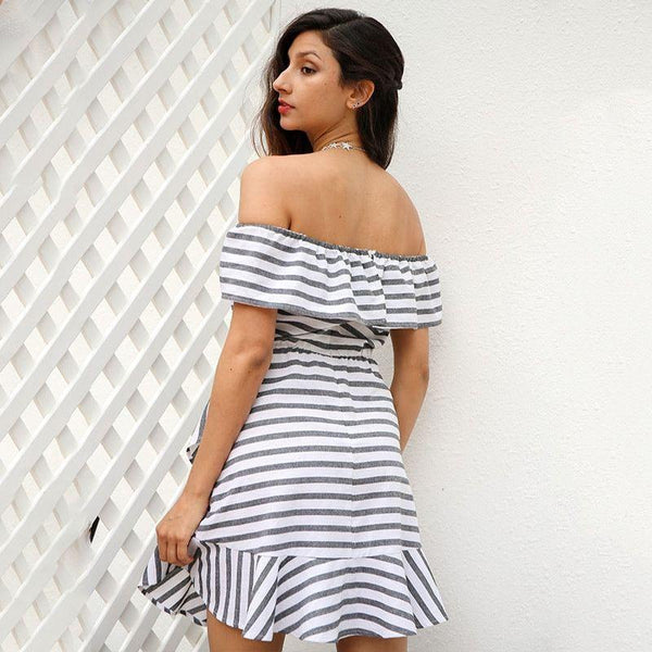 2017-Ruffle striped dress-Simplee