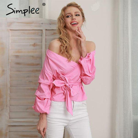 2017-Ruffled off shoulder blouse-Simplee