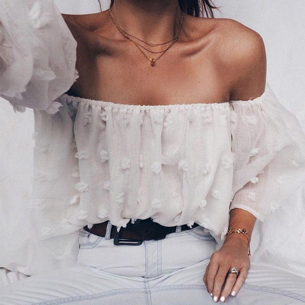 2017-Sexy off shoulder chiffon blouse-Simplee
