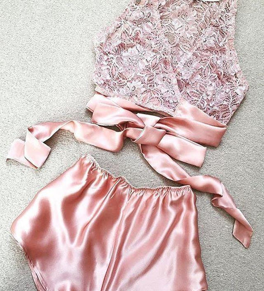 2017-Sexy satin and lace romper-Simplee