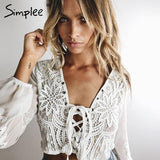 2017-V neck mesh lace blouse-Simplee